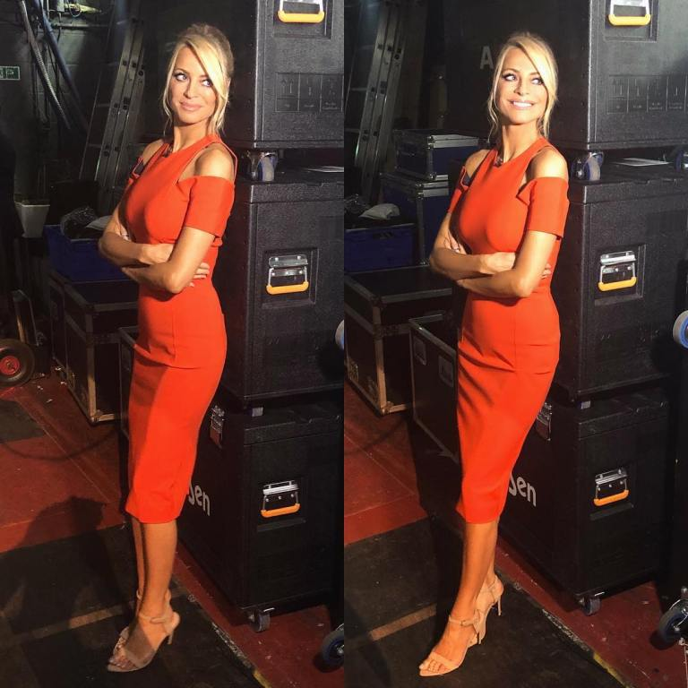 where to get Tess Daly Strictly orange cold shoulder dress Strictly November 2018