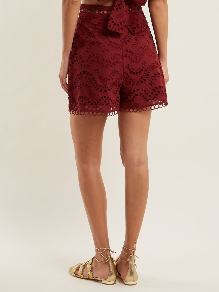 Zimmermann Jaya Wave Cotton Shorts back view