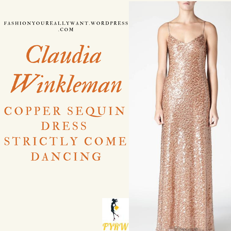 Where to get Claudia Winkleman Strictly Christmas Special copper gold sequin cami spaghetti strap dress 2018 outfit blog