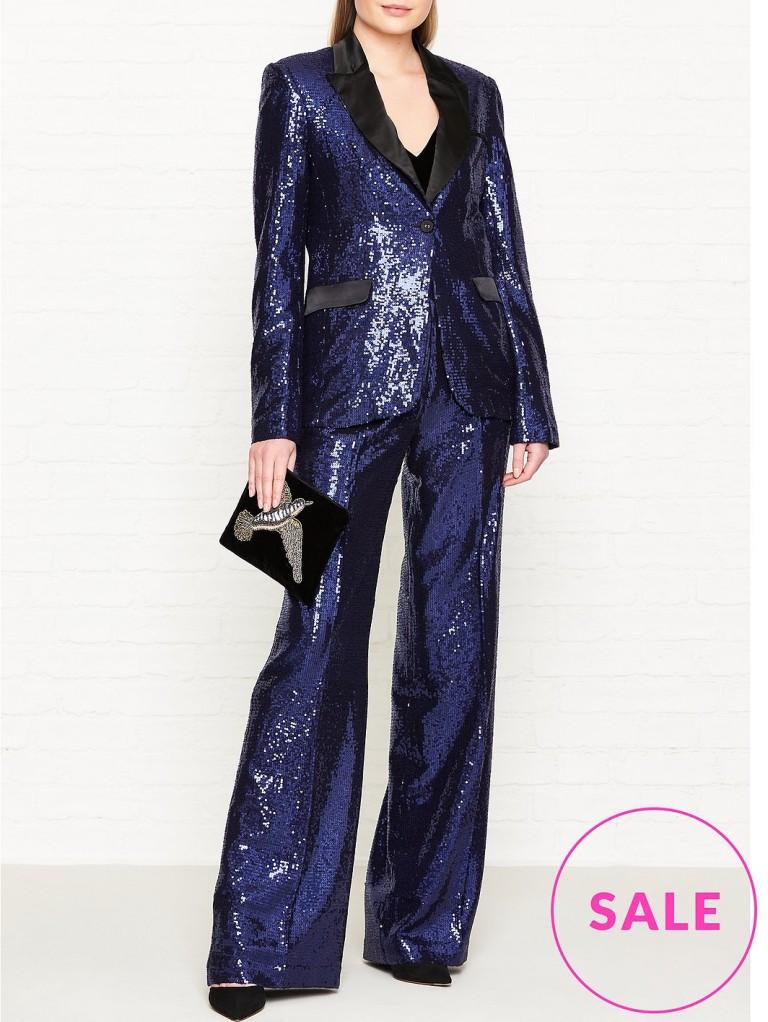 d84ff10b Claudia Winkleman Blue Sequin Suit Strictly Come Dancing Final 2018 ...