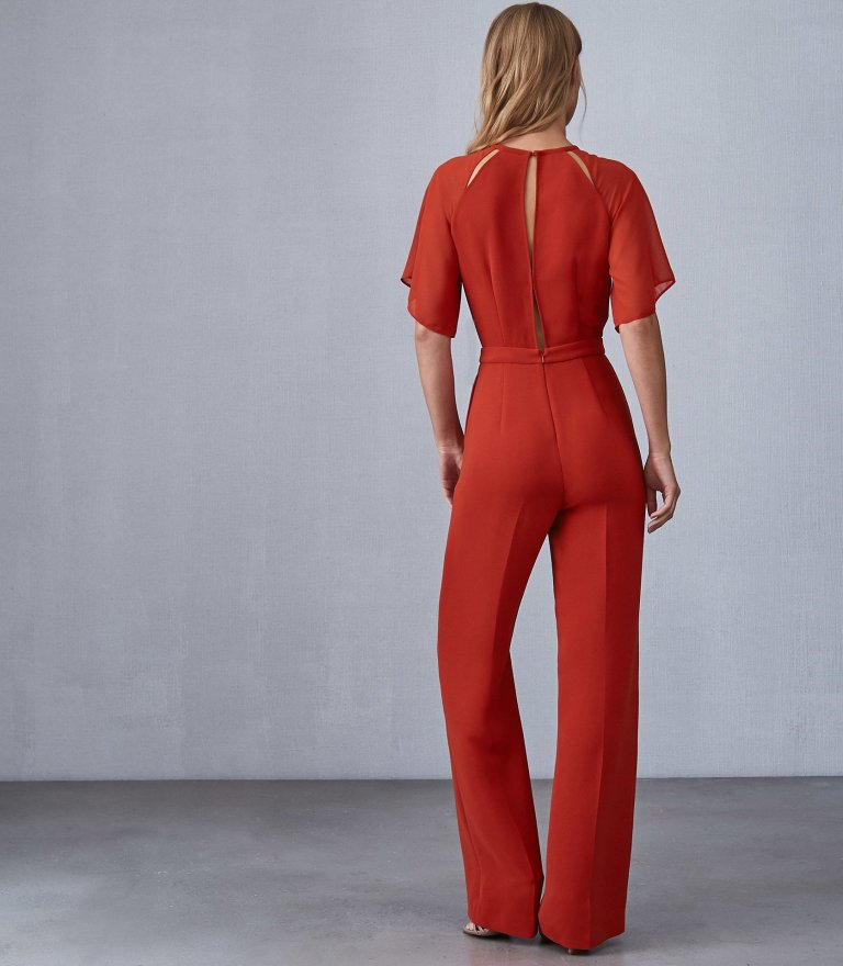 REISS Scarlet - Wide Leg Jumpsuit in Red back view