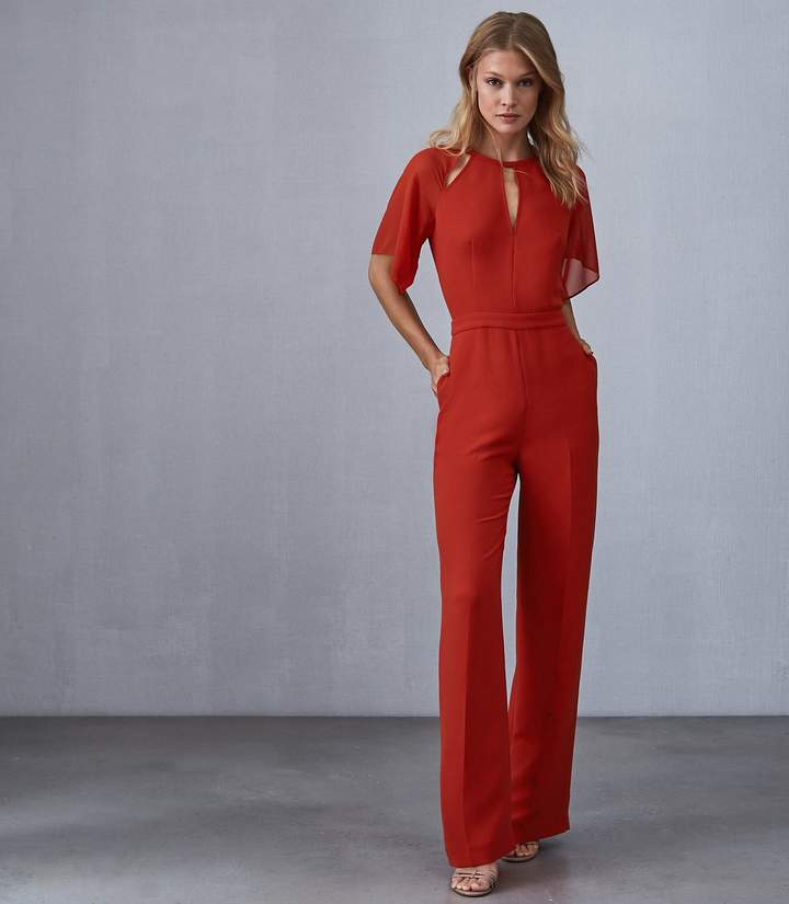 REISS Scarlet - Wide Leg Jumpsuit in Red