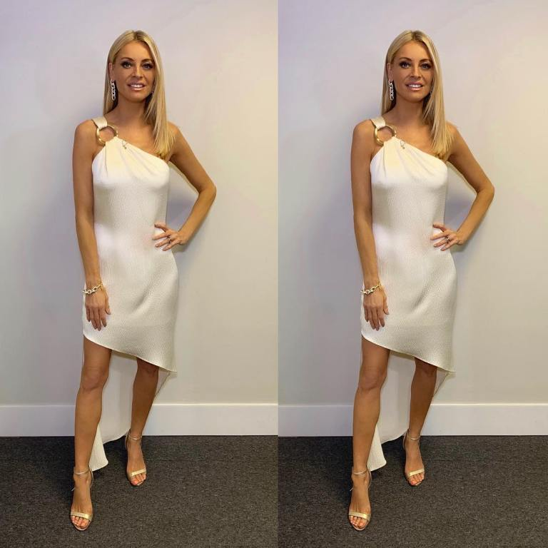 Where to get Tess Daly Strictly final one shoulder ring ivory dress December 2018