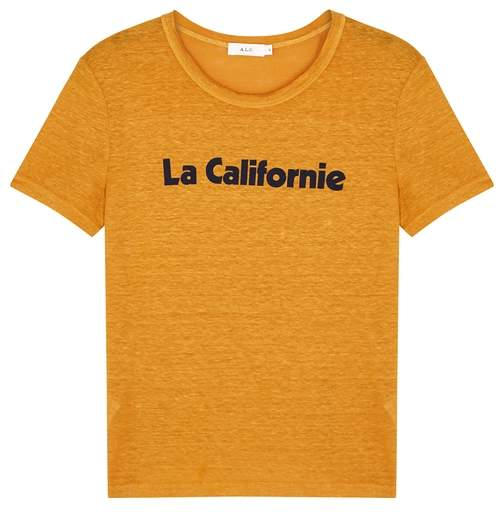 A.L.C Printed slubbed linen t-shirt