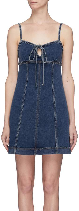 Alexa Chung Tie keyhole front denim dress