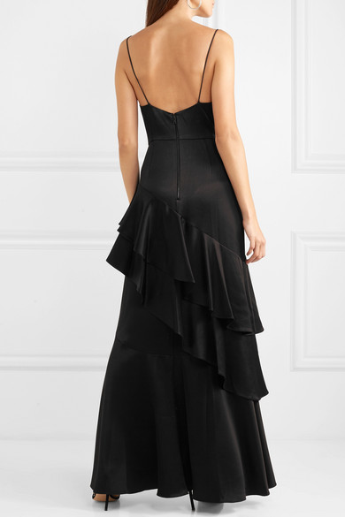 Alice + Olivia - Lauralei Ruffled Satin Gown - Black back view