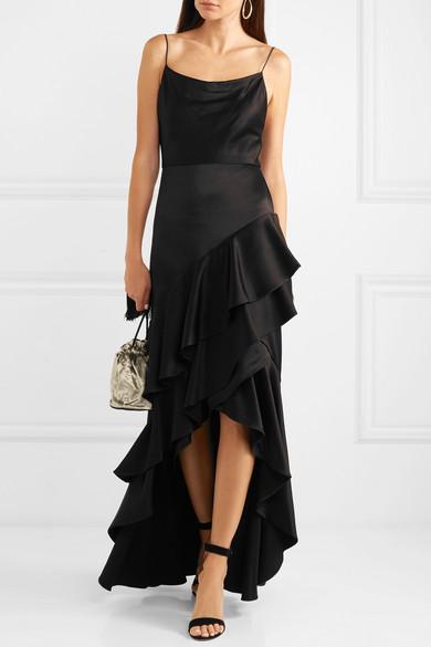 Alice + Olivia - Lauralei Ruffled Satin Gown - Black