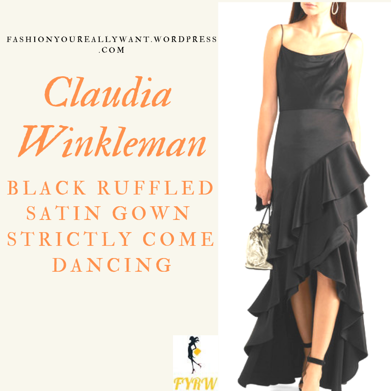 Where to get Claudia Winkleman Strictly black satin ruffle camisole gown outfit blog December 2018