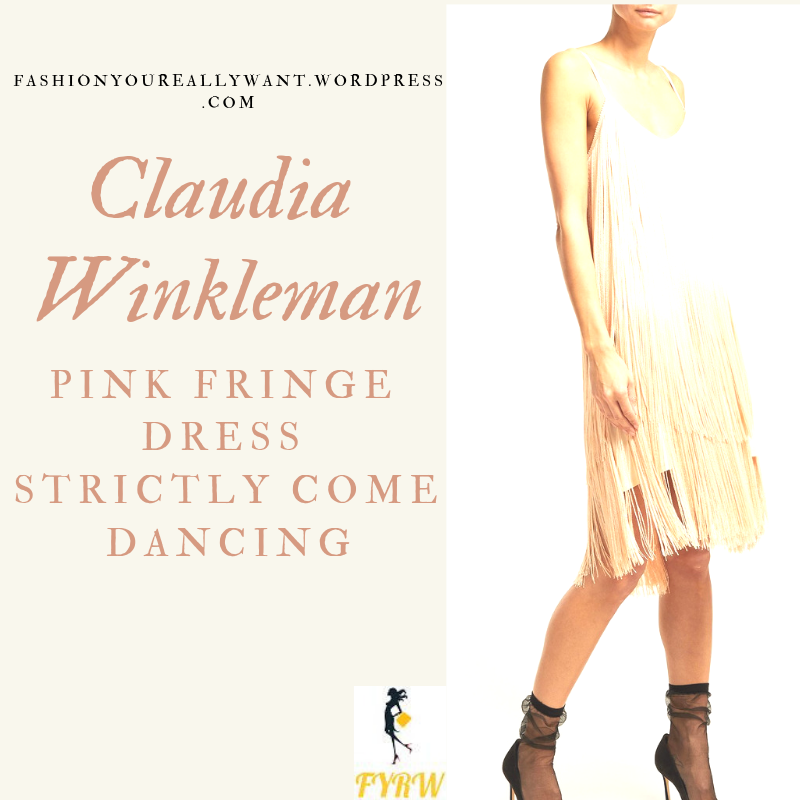 Where to get Claudia Winkleman Strictly pink nude fringe slip dress outfit blog December 2018