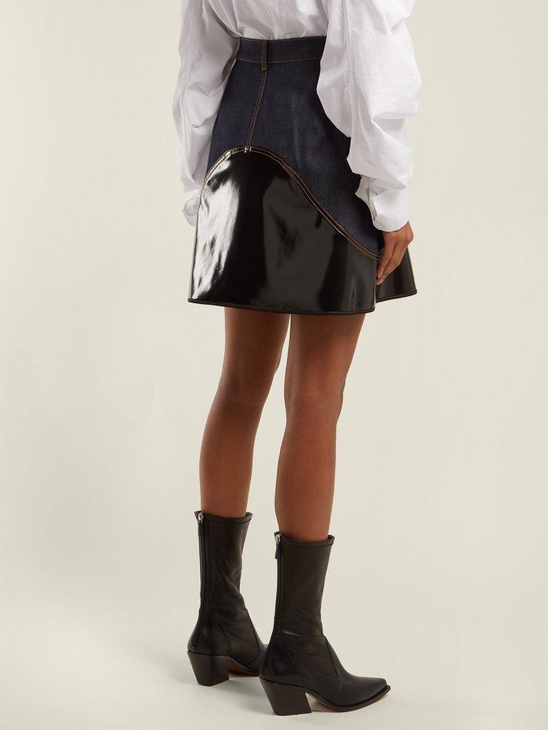 Ellery Vonz Contrast Panel Denim Skirt back view