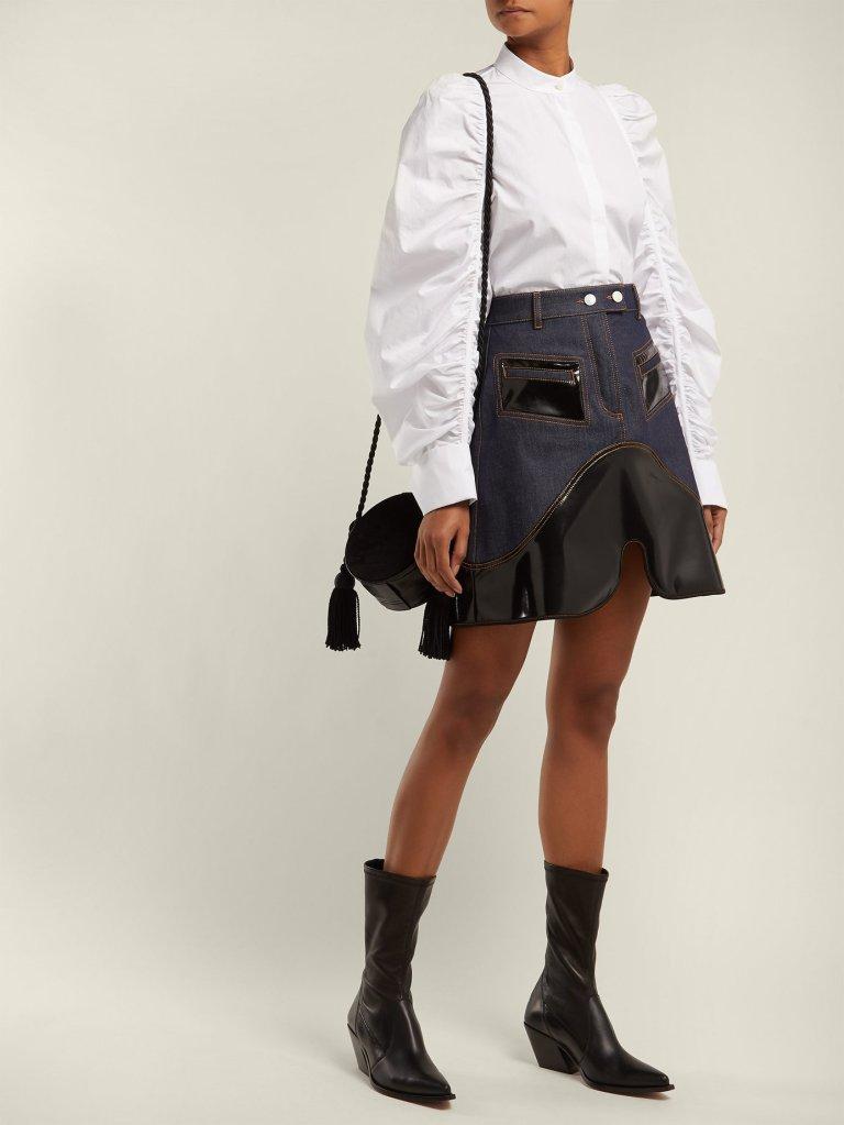 Ellery Vonz Contrast Panel Denim Skirt