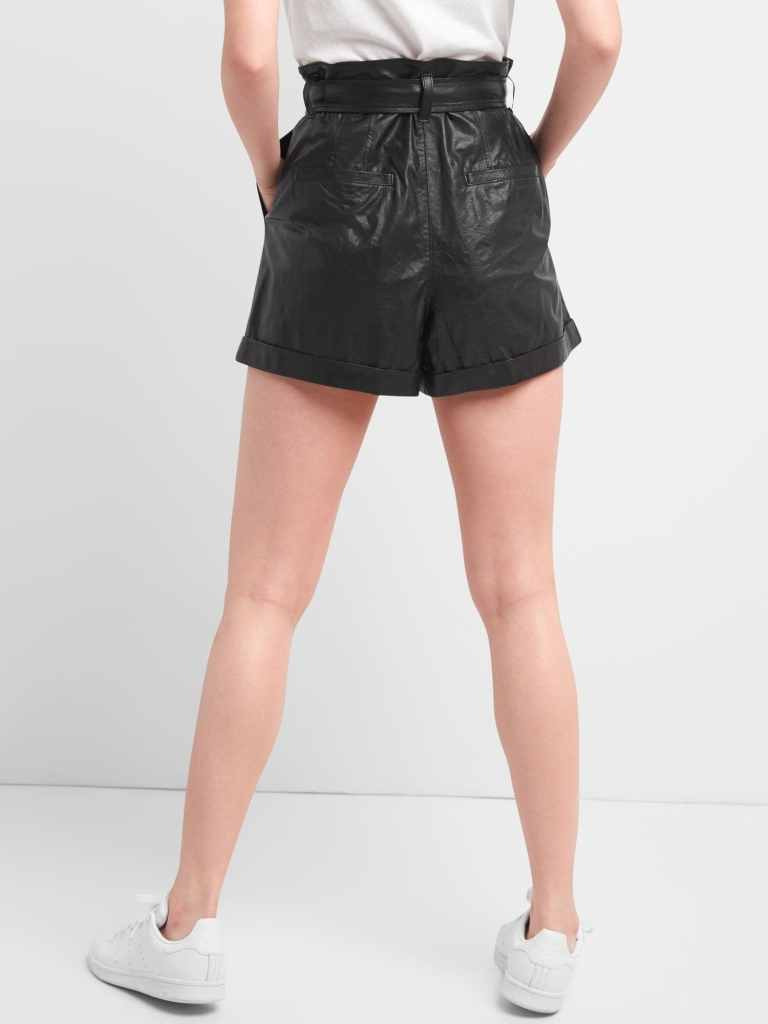 Gap High Rise 3 paper Leather shorts back view