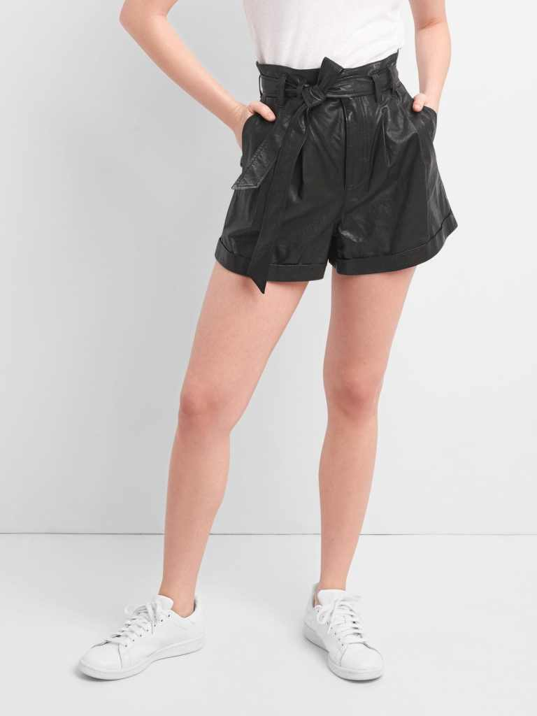 Gap High Rise 3 paper Leather shorts