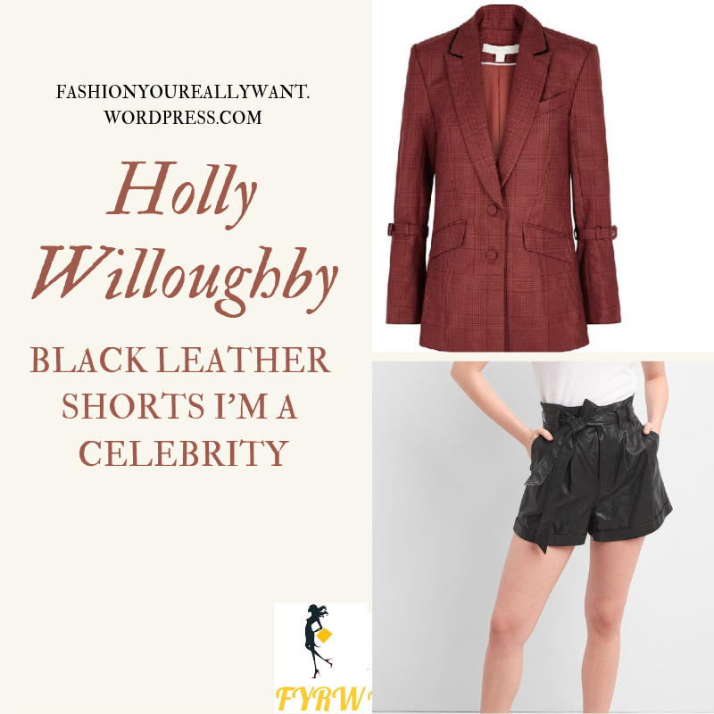 Where to get Holly Willoughby I'm a Celebrity black leather shorts black t-shirt red jacket black boots outfit blog December 2018