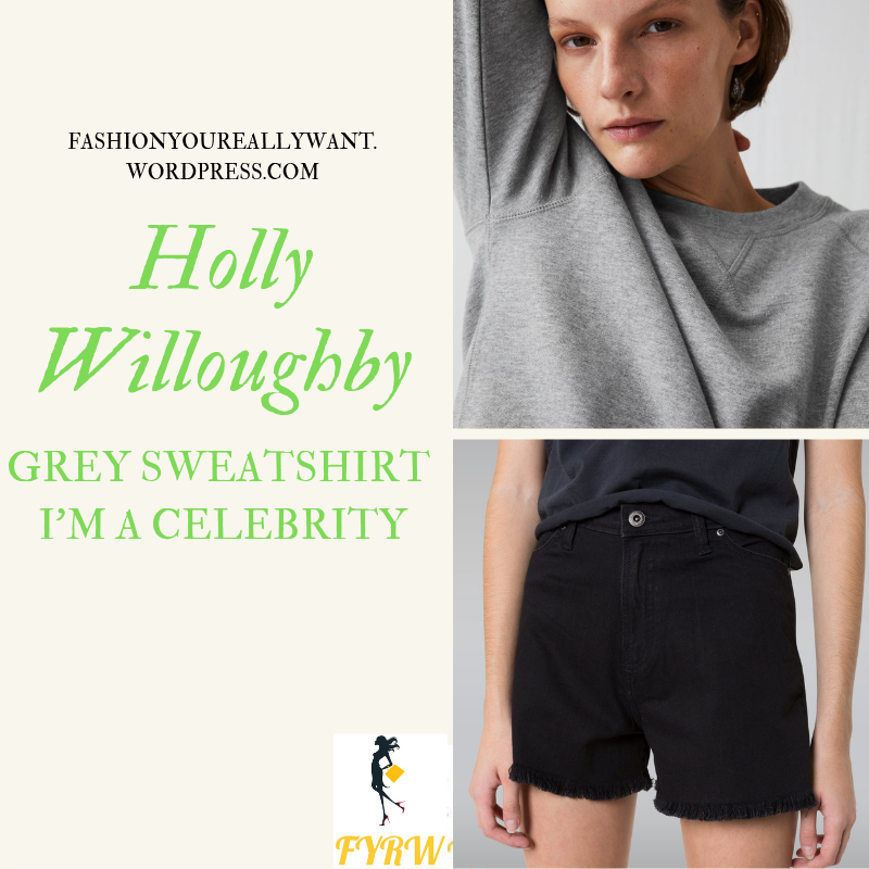 Where to get Holly Willoughby grey sweatshirt I'm a Celebrity black shorts black boots December 2018