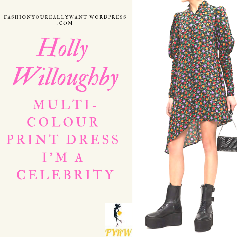 Where to get Holly Willoughby I'm a Celebrity multi colour print dress black belt black buckle boots outfit blog December 2018