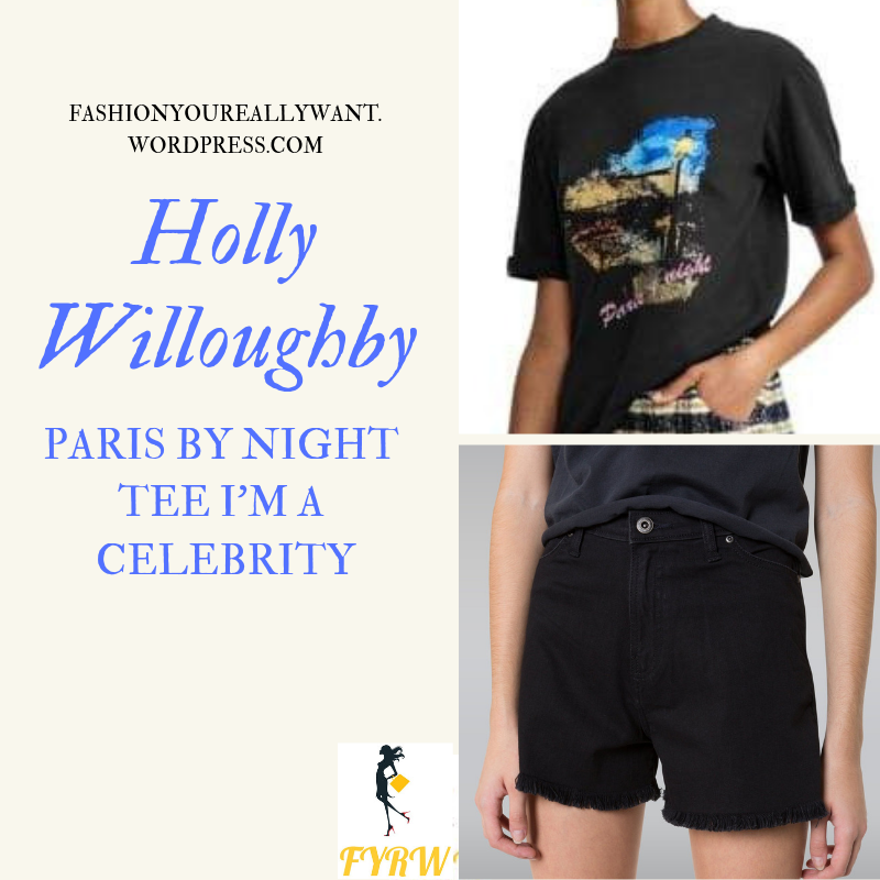 Where to get Holly Willoughby Paris by Night t-shirt I'm a Celebrity black shorts black boots December 2018