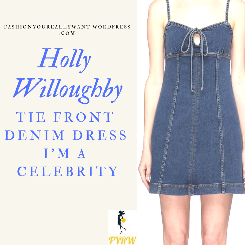 Where to get Holly Willoughby I'm a Celebrity tie front blue denim dress white t-shirt black boots beige raincoat outfit blog December 2018