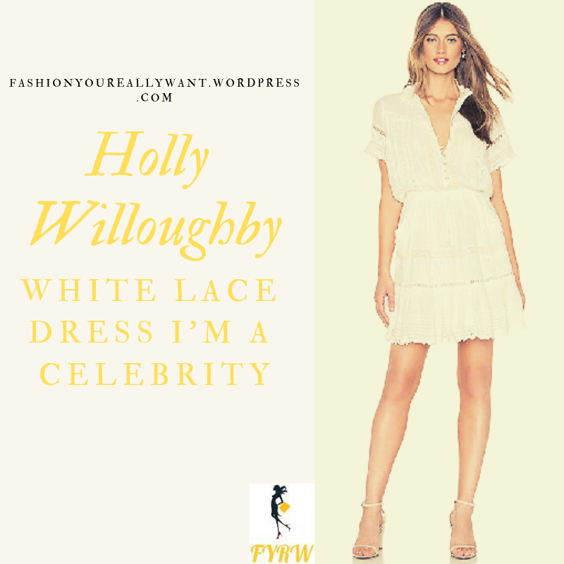 6ef366d7a0 Where to get Holly Wlloughby I m a Celebrity white lace dress black belt  black