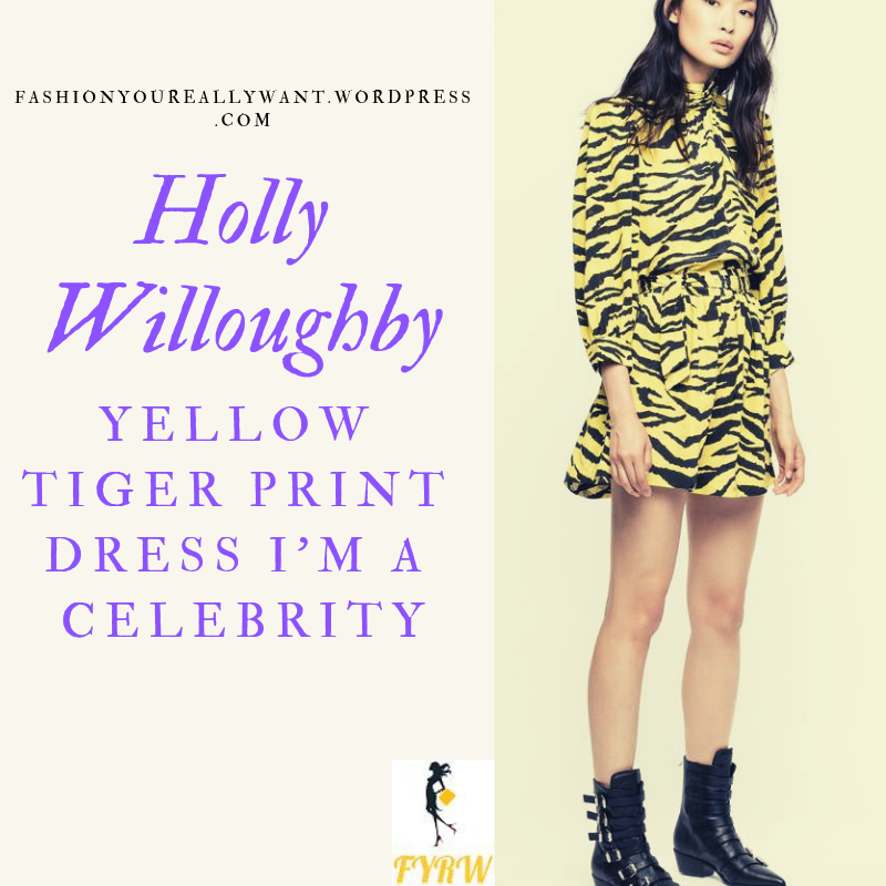 Where to get Holly Willoughby I'm a Celebrity Final yellow tiger print dress black belt black boots outfit blog December 2018