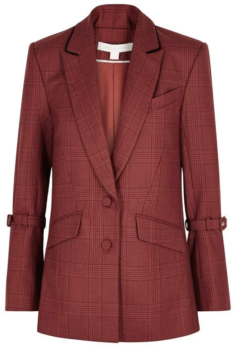 Jonathan Simkhai Red Checked Wool Blazer