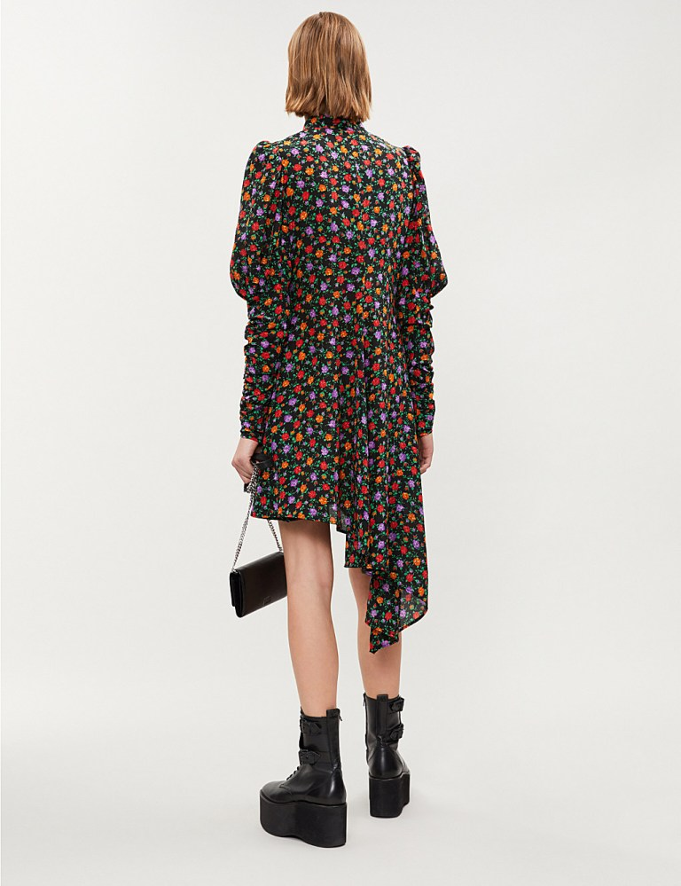 Kooples Asymmetric Balloon-sleeve Floral Print Silk Mini dress back view