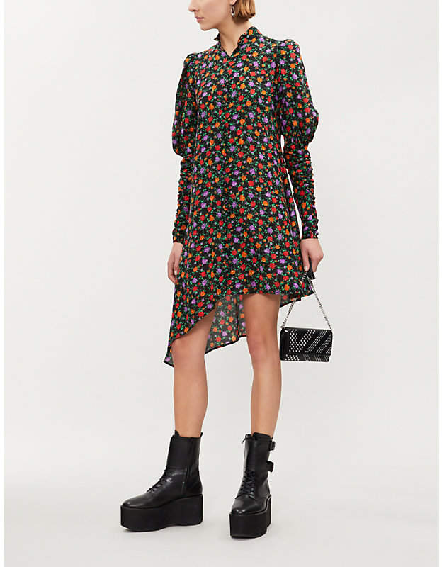 Kooples Asymmetric Balloon-sleeve Floral Print Silk Mini dress