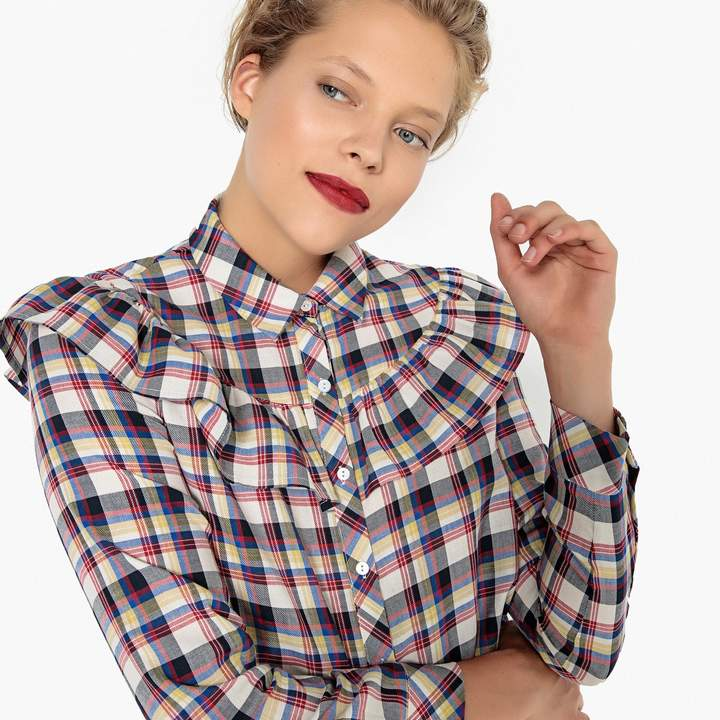 La Redoute MADEMOISELLE R Ruffled Checked Cotton Shirt