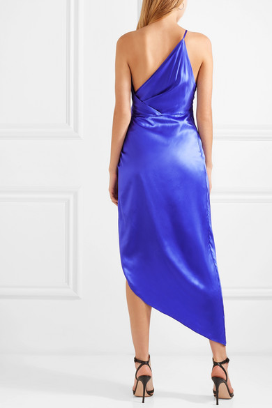Michelle Mason One-shoulder Asymmetric Silk-satin Midi Dress back view