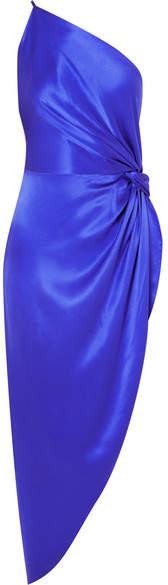 Michelle Mason One-shoulder Asymmetric Silk-satin Midi Dress
