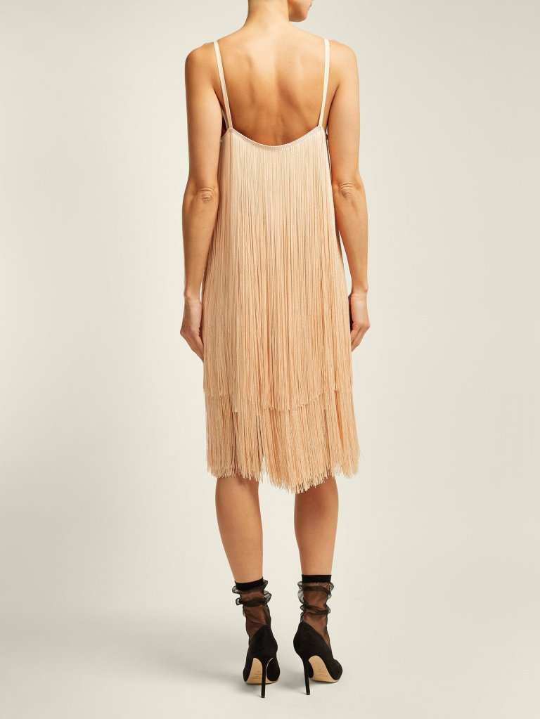 Raey Long Fringe Slip Dress back view