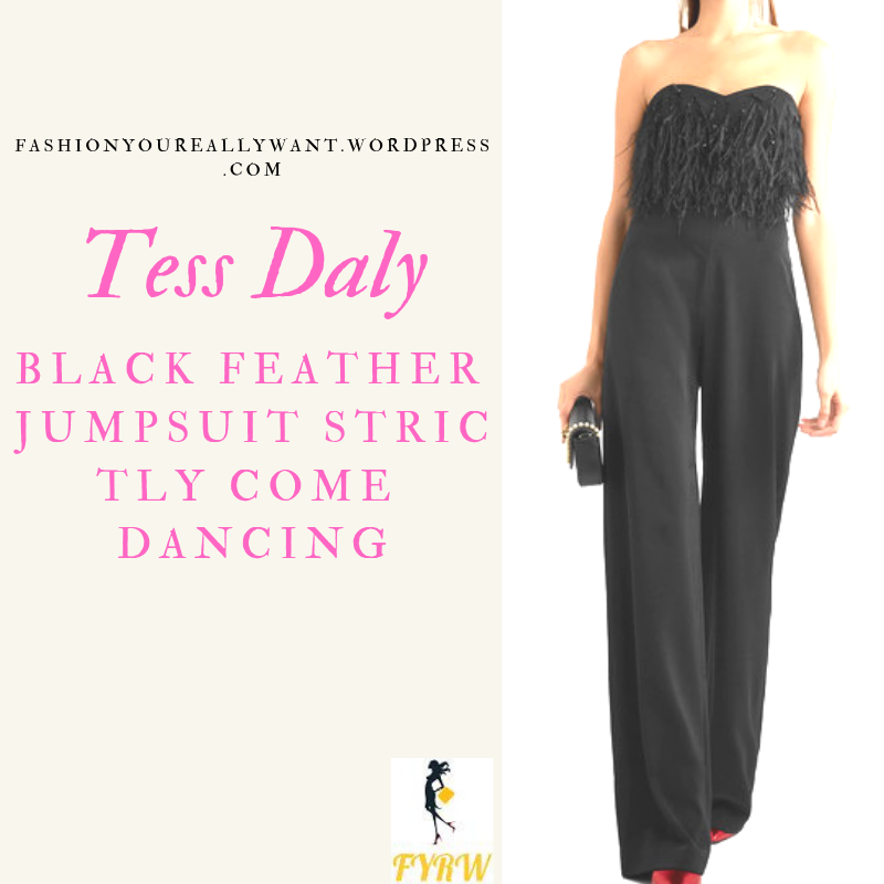 Where to get Tess Daly Strictly strapless black feather jumpsuit outfit blog December 2018