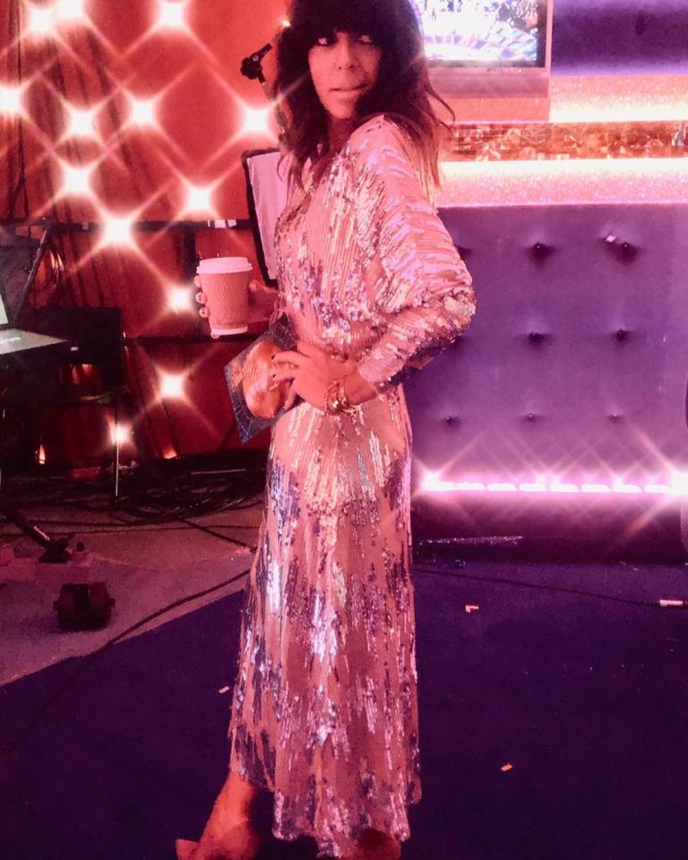 Where to get Claudia Winkleman Strictly silver and pink sequin dress outfit blog December 2018
