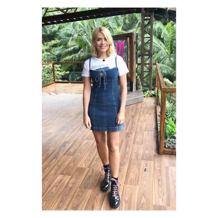 where to get holly Willoughby I'm a Celebrity denim tie fron dress white t-shirt black boots December 2018