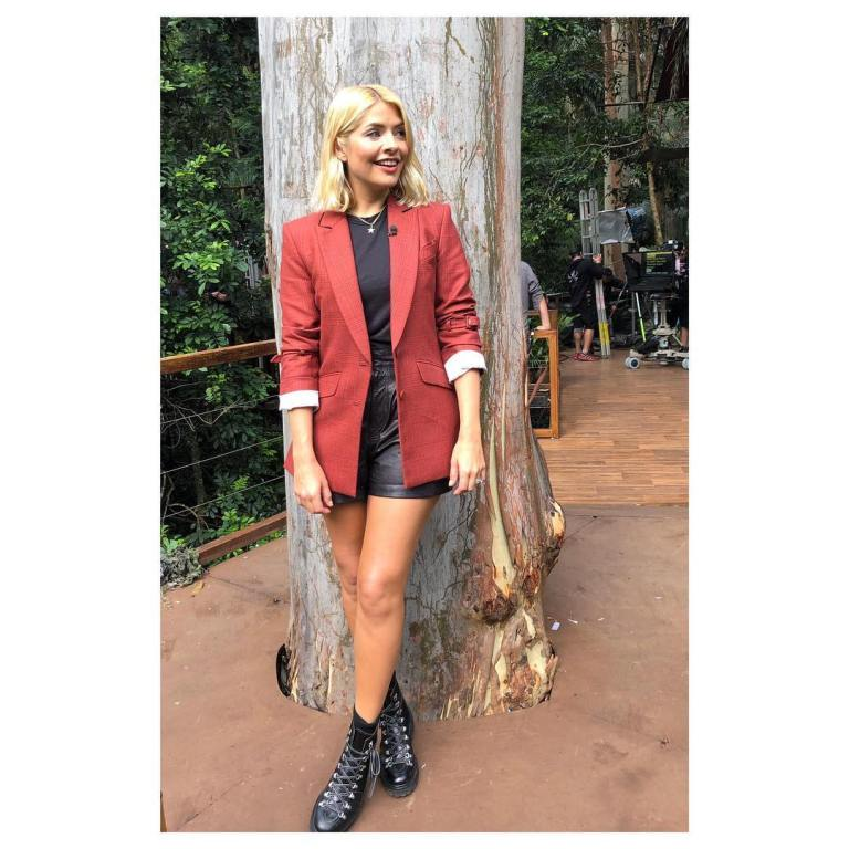 where to get holly Willoughby I'm a Celebrity black leather shorts black t-shirt red jacket black boots December 2018