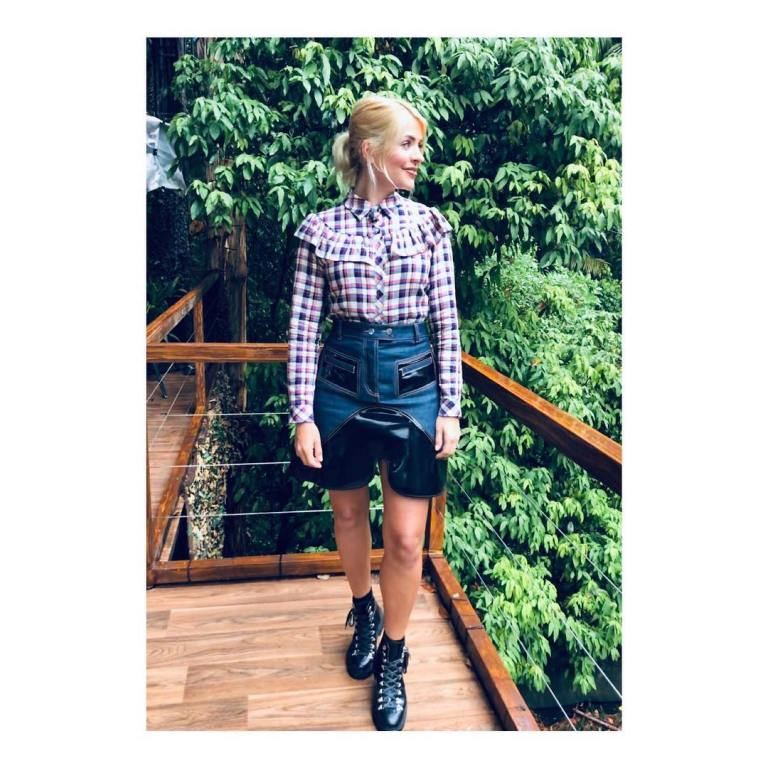 Where to get holly Willoughby I'm a Celebrity white chedk frill shirt denim and black skirt black boots December 2018