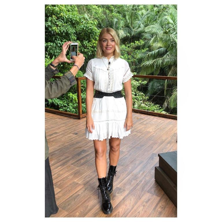 where to get Holly Willoughby I'm a Celebrity white lace dress black belt black boots December 2018