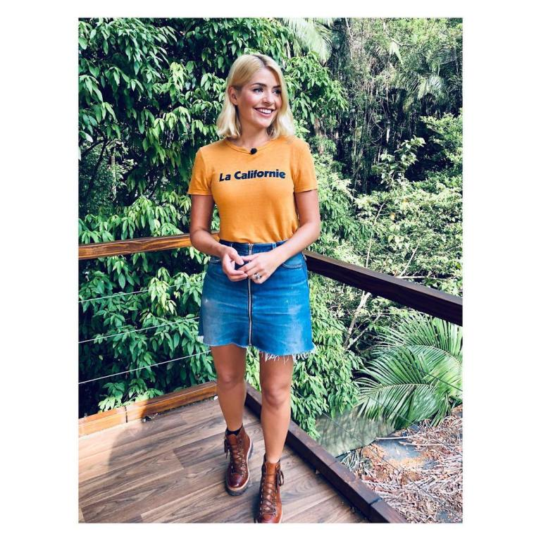 where to get Holly Willoughby La Californie yellow t-shirt blue zip denim skirt tan boots I'm a Celebrity December 2018