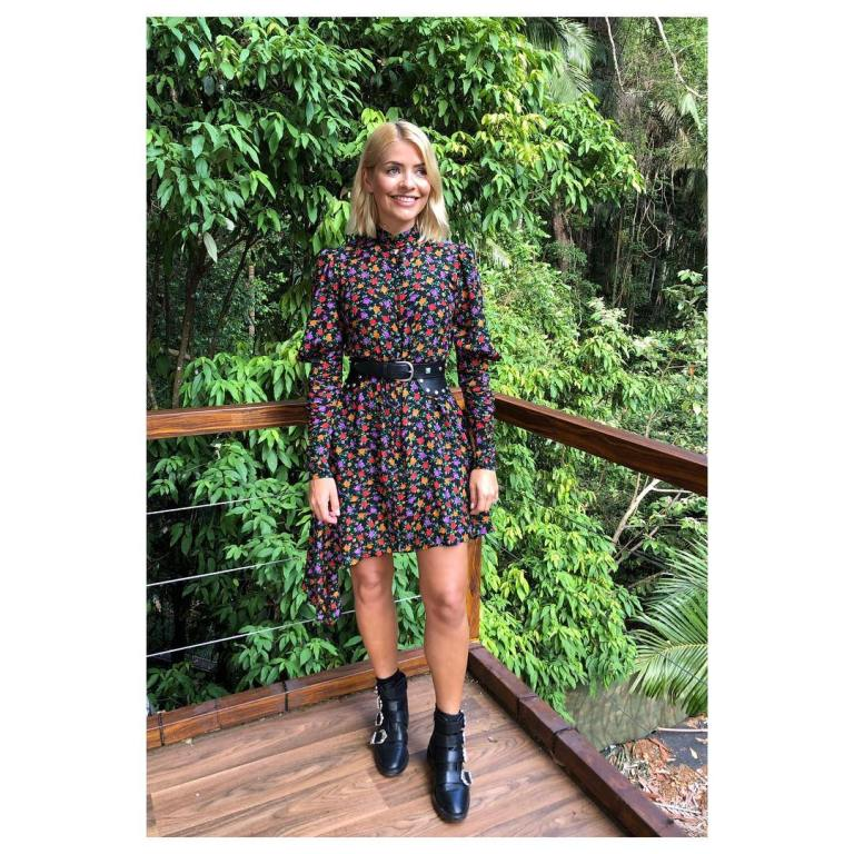 Where to get Holly Willoughby multi coloured dress black belt black buckle boots I'm a Celebrity December 2018