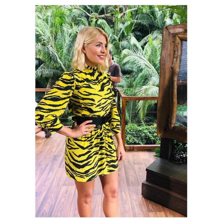 where to get Holly Willoughby yellow tiger print dress black belt black boots I'm a Celebrity final December 2018