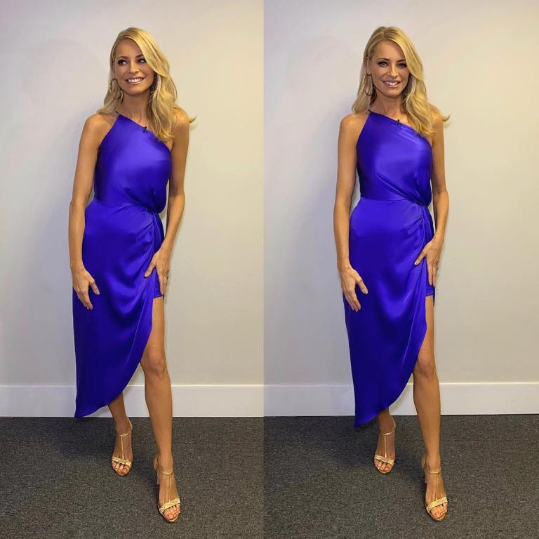Where to get Tess Daly royal blue one shoulder asymmetric midi dress Strictly December 2018