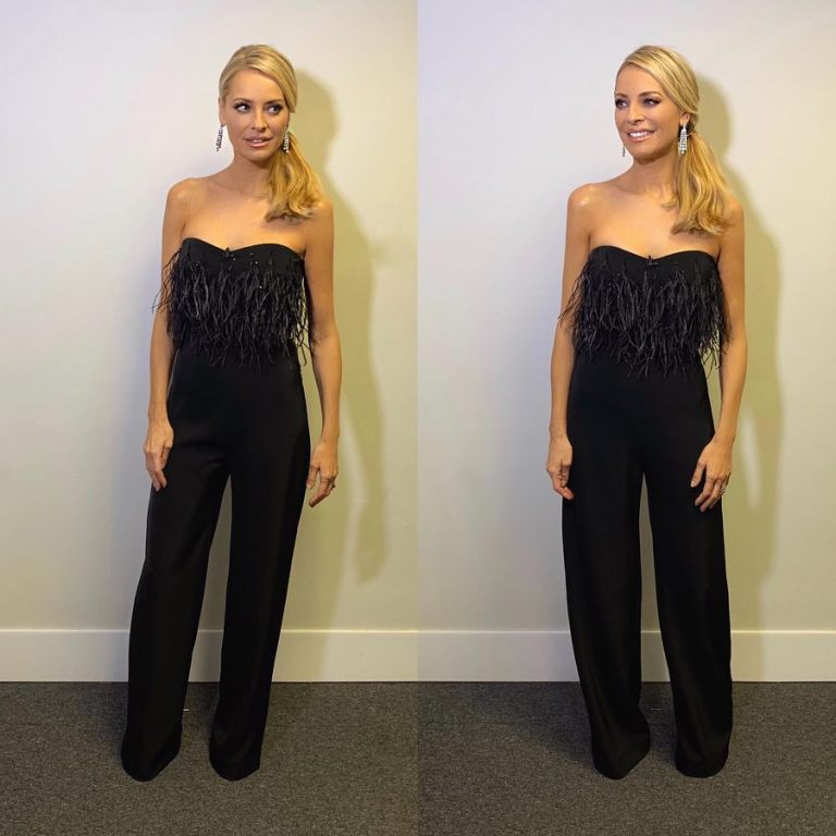 43afcd4203f9 where to get Tess Daly strapless black feather jumpsuit Strictly December  2018