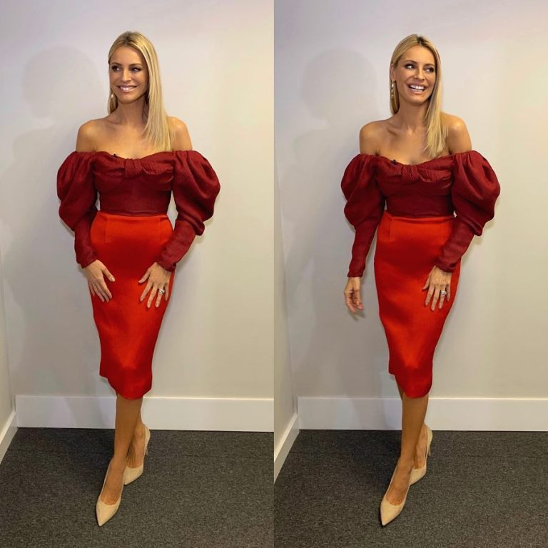 where to get Tess Daly Strictly off the shoulder bow two tone red dress December 2018