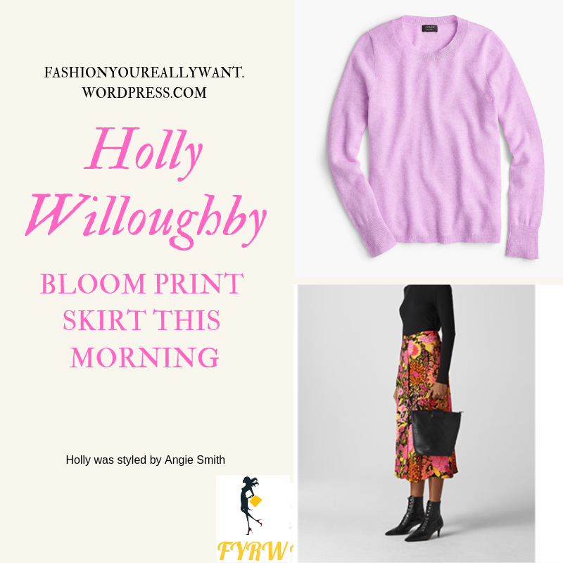 Where to get Holly Willoughby This Morning outfit today pink lilac sweater large floral print skirt nude court shoes blog January 2019