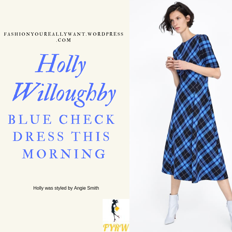 Where to get Holly Willoughby This Morning outfit today blue check dress black suede court shoes blog January 2019