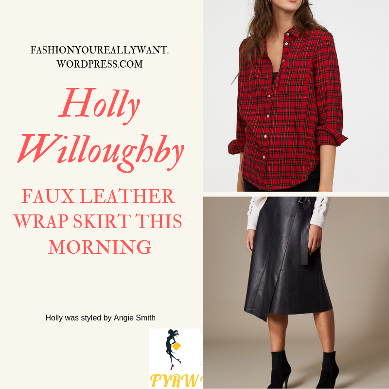 Where to get Holly Willoughby this Morning outfit today black faux leather skirt red check shirt black boots blog January 2019