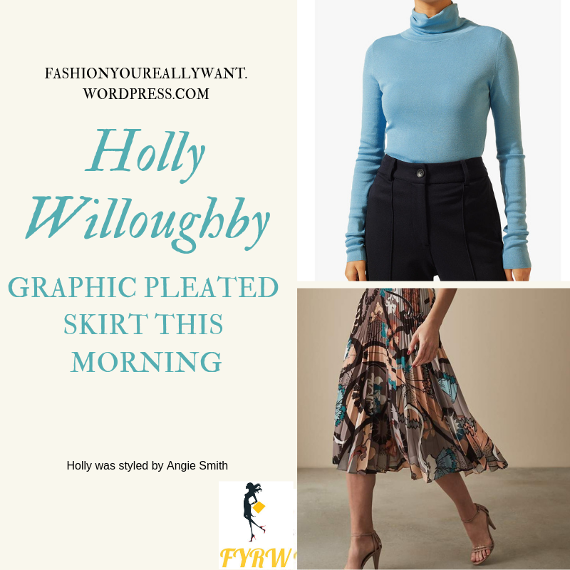 where to get Holly Willoughby This Morning style outfit blue polo neck graphic pleated skirt nude court shoes today January 2019