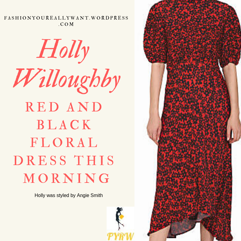 Where to get Holly Willoughby This Morning outfit today red and black floral dress black court shoes blog January 2019