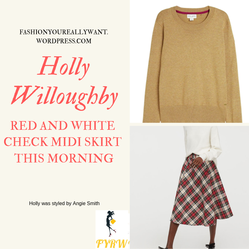 Where to get Holly Willoughby This Morning outfit today red and white check tartan skirt light brown jumper nude court shoes blog January 2019