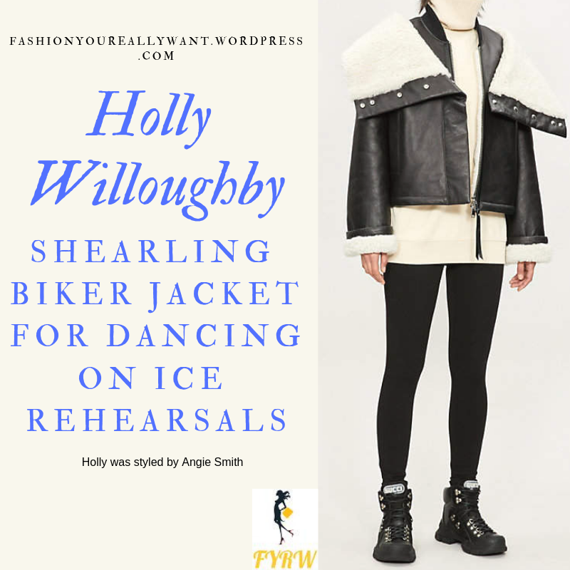 Where to get Holly Willoughby black and white shearling jacket Dancing on Ice rehearsals January 2019